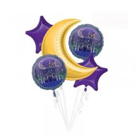 Set de ballons aluminium Eid violet / or