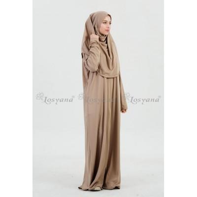 Robe de priere Hijab integré en Soie de Medine